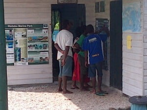 Here are some of our volunteers going through the new snorkelling briefing banner with Tiko our project manager.
