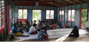 Community meeting in Waitabu village hall