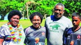 Iosefo Masi's family from L-R: Aqela Nukunawa, Vilomema Maria, Atonio Kawakawa, Tui Levuka in their village in Waitabu, Waikeli in Taveuni after Fiji's win in one of the pool games. Photo: Tagimoucia Photography