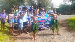 Waitabu villagers cheer on Masi at Tokyo Olympics 7s Rugby